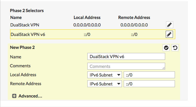 Getting a dual stack VPN up with FortiGate and FortiClient
